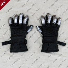 Leather Gloves with Metal Finger